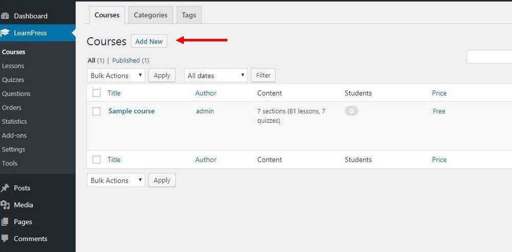 Cómo crear un curso con LearnPress